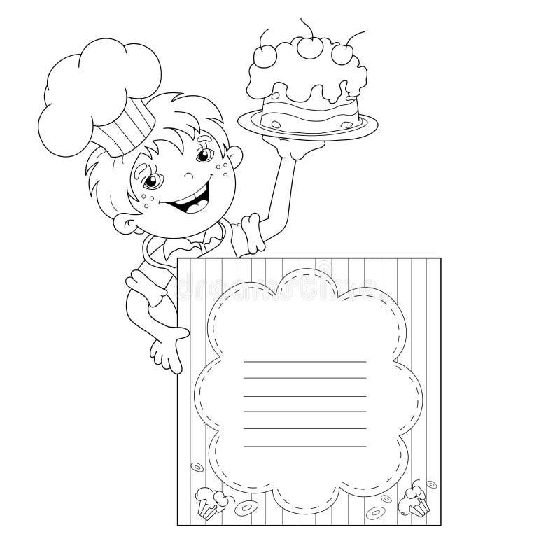 menu outline tirevi fontanacountryinn Resume Outline Examples coloring page outline of cartoon boy chef with cake menu stock