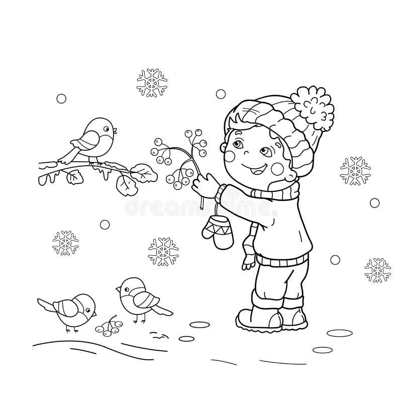 Coloring Page Outline Of cartoon boy feeding birds. Winter. vector illustration