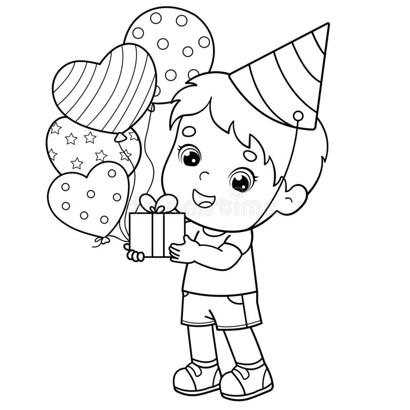 Coloring Page Outline Of A Cartoon Boy With Gift And Balloons. Birthday. Coloring  Book For Kids Stock Vector - Illustration Of Card, Confetti: 177473901