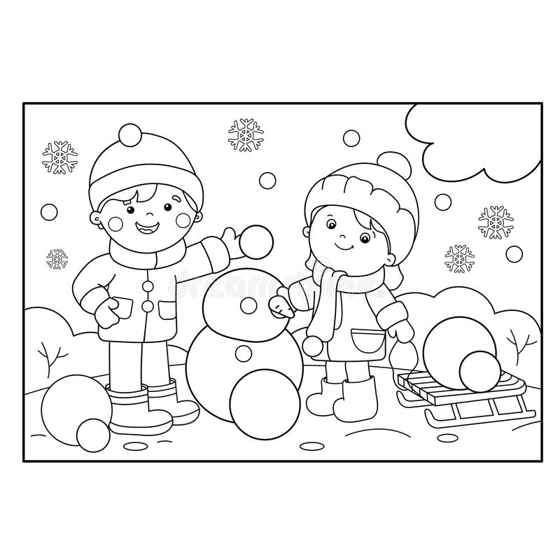 Coloring Page Outline Of Cartoon Boy With Girl Making Snowman Stock Vector  - Illustration Of School, Snowflake: 114525501