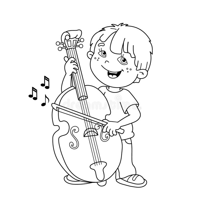 cello coloring page - coloring page outline of cartoon boy playing the cello
