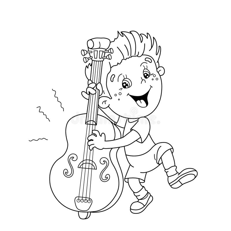 kid playing band instruments coloring pages | Coloring Page Outline Of Cartoon Boy Playing The Cello ...
