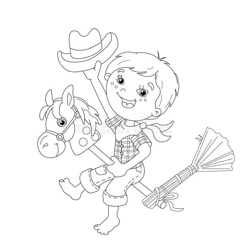 Coloring Page Outline Of cartoon Boy playing cowboy with toy horse. Coloring book for kids royalty free illustration