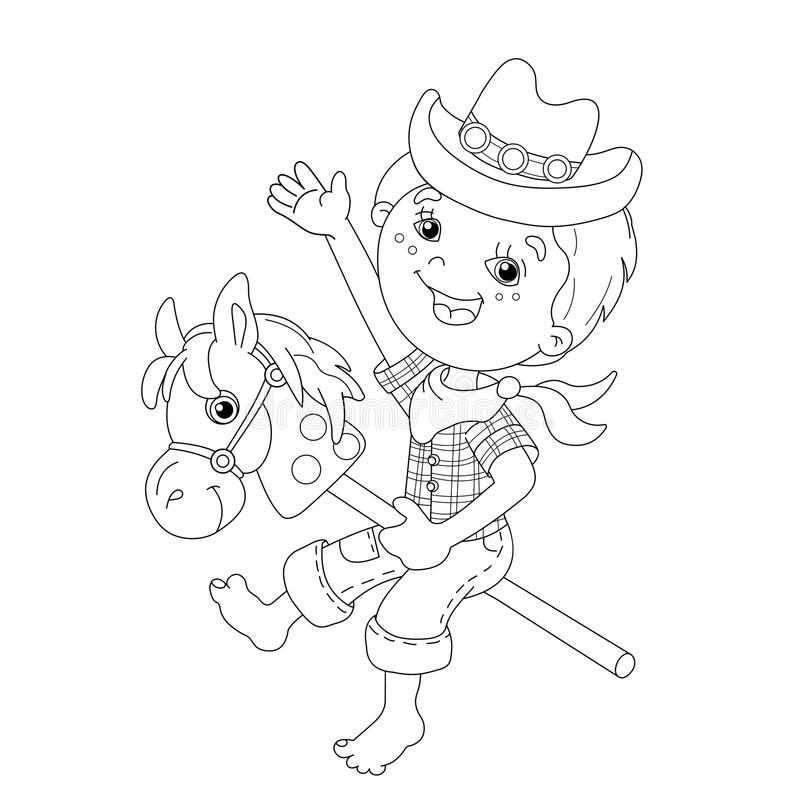 Coloring Page Outline Of cartoon Boy playing cowboy with toy horse. Coloring book for kids vector illustration