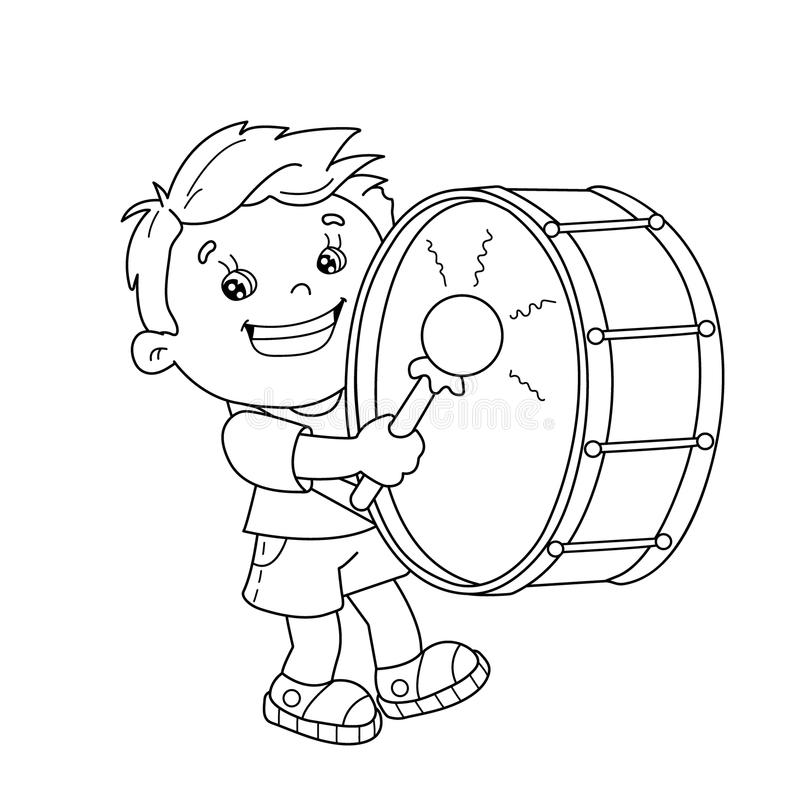 Coloring Page Outline Of Cartoon Boy Playing The Drum Stock Vector ...