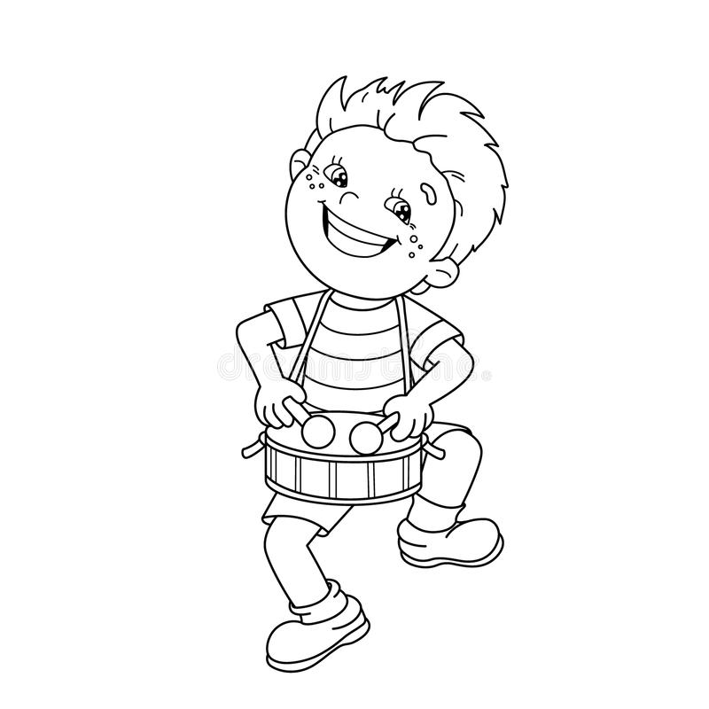 kid playing band instruments coloring pages | Coloring Page Outline Of Cartoon Boy Playing The Drum ...