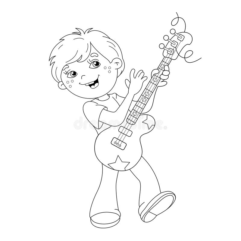 Download Coloring Page Outline Of Cartoon Boy Playing Guitar Stock Vector