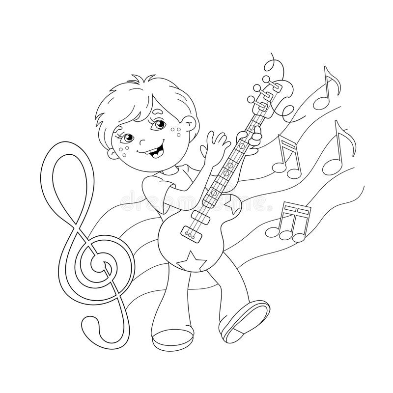 Coloring Page Outline Of Cartoon Boy Playing Guitar Stock Vector ...