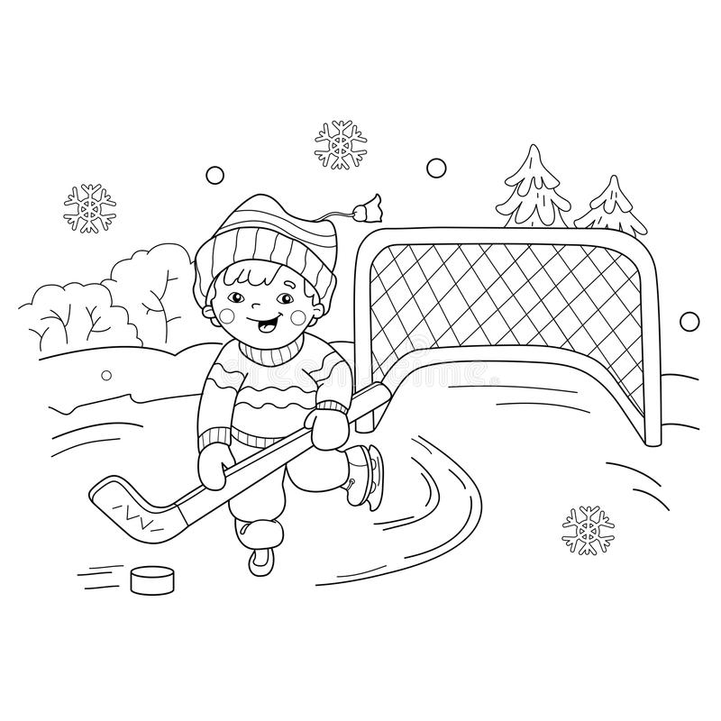 coloring page outline cartoon boy playing hockey winter sports playground book kids
