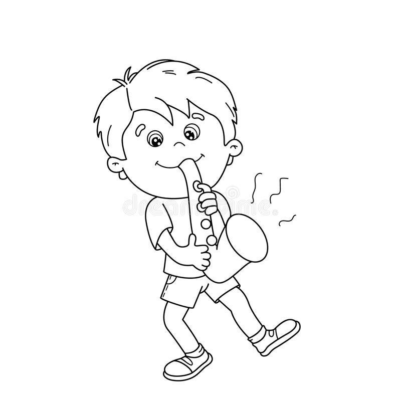 download coloring page outline of cartoon boy playing the saxophone stock vector illustration of performer