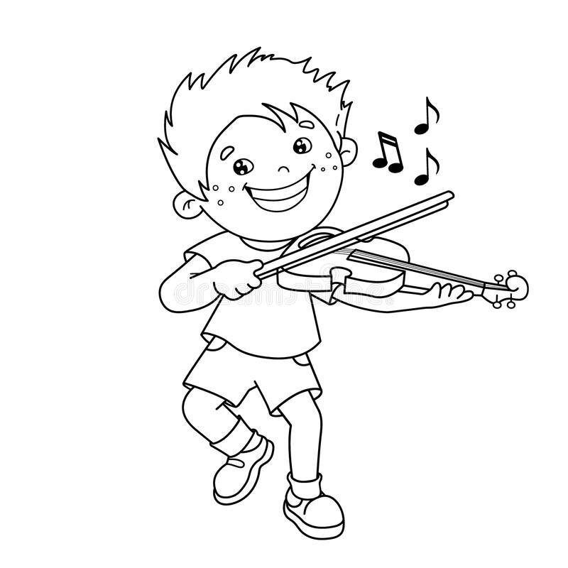 Download Coloring Page Outline Of Cartoon Boy Playing The Violin Stock Vector