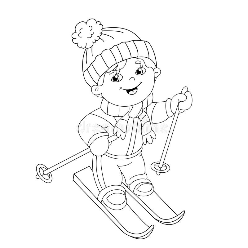 Coloring Page Outline Of cartoon boy riding on skis vector illustration