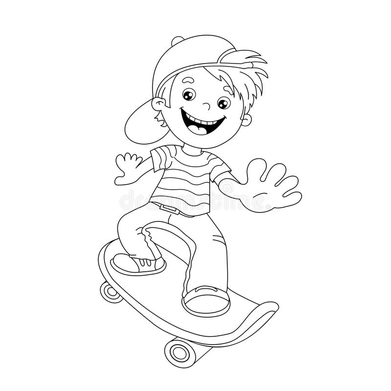 Download Coloring Page Outline Of Cartoon Boy On The Skateboard Stock Vector
