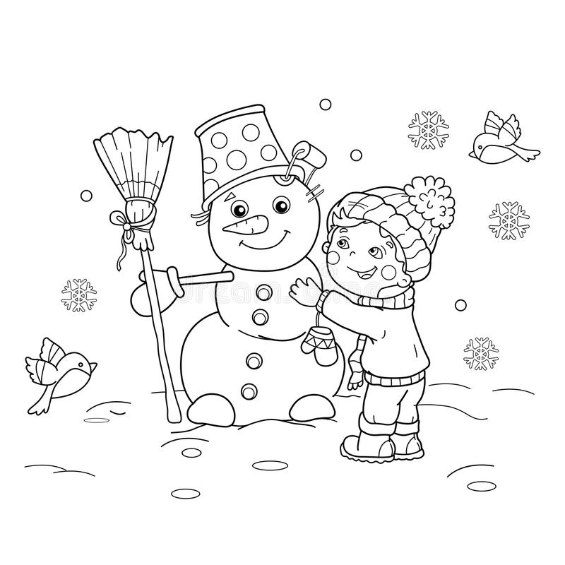 Coloring Page Outline Of cartoon boy with snowman. Winter. royalty free illustration