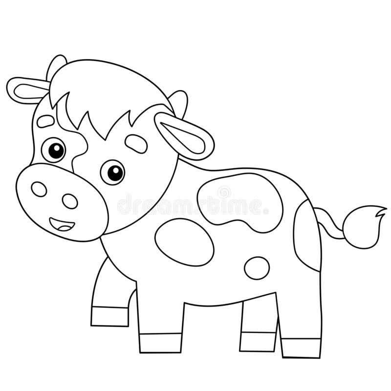 Coloring Page Outline Of Cartoon Calf Or Kid Of Cow. Farm Animals. Coloring  Book For Kids Stock Vector - Illustration Of Book, Lowing: 166327330