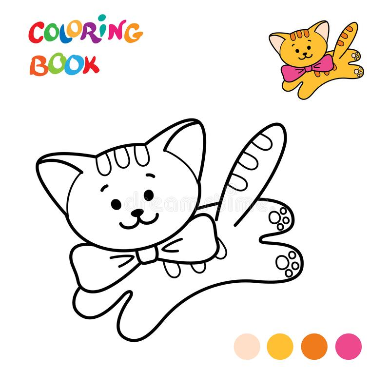 coloring page outline cartoon cat fluffy book kids
