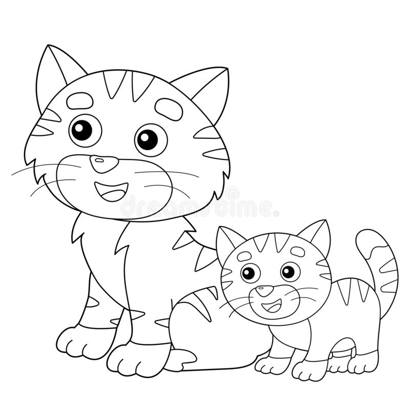 - Coloring Page Outline Of Cartoon Cat With Kitten. Pets. Coloring Book For  Kids Stock Vector - Illustration Of Mouse, Fluffy: 166327426