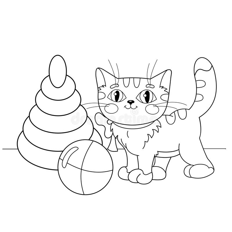 Coloring Page Outline Of Cartoon Cat Playing With Toys Stock Vector ...