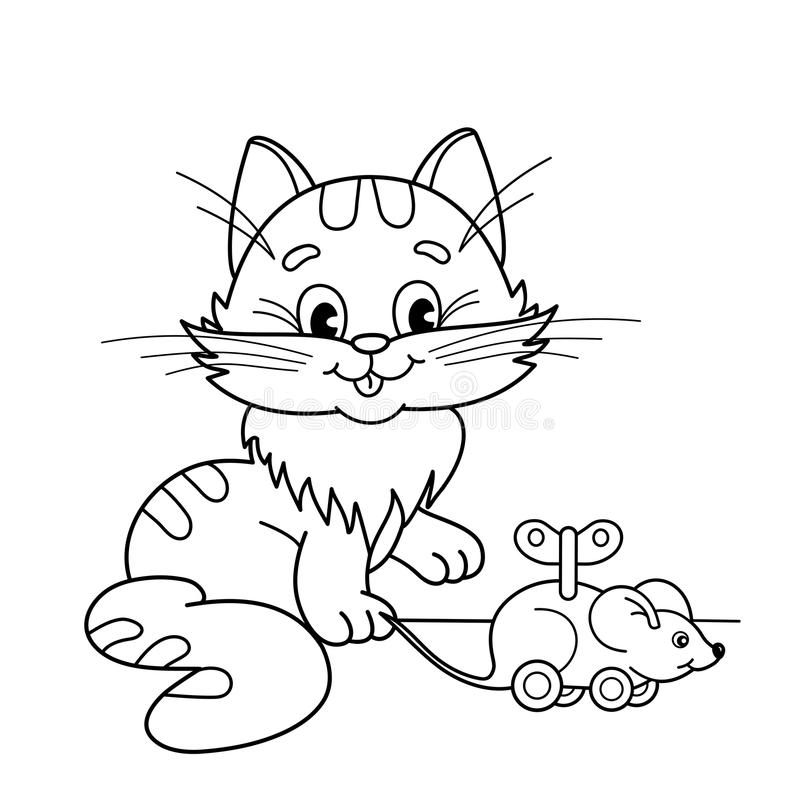 download coloring page outline of cartoon cat with toy clockwork mouse coloring book for kids
