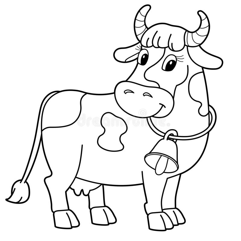 Coloring Page Outline Of Cartoon Cow With Bell. Farm Animals. Coloring Book  For Kids Stock Vector - Illustration Of Color, Animals: 166327390