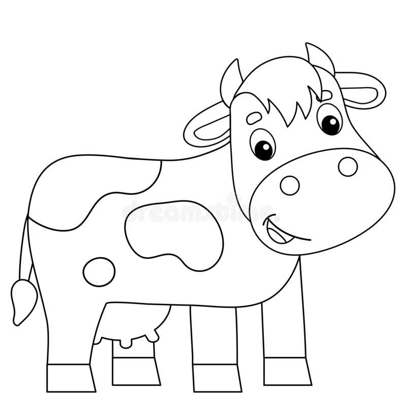 Coloring Page Outline Of Cartoon Cow Farm Animals Coloring Book For Kids Stock Vector Illustration Of Milk Kine 166327251