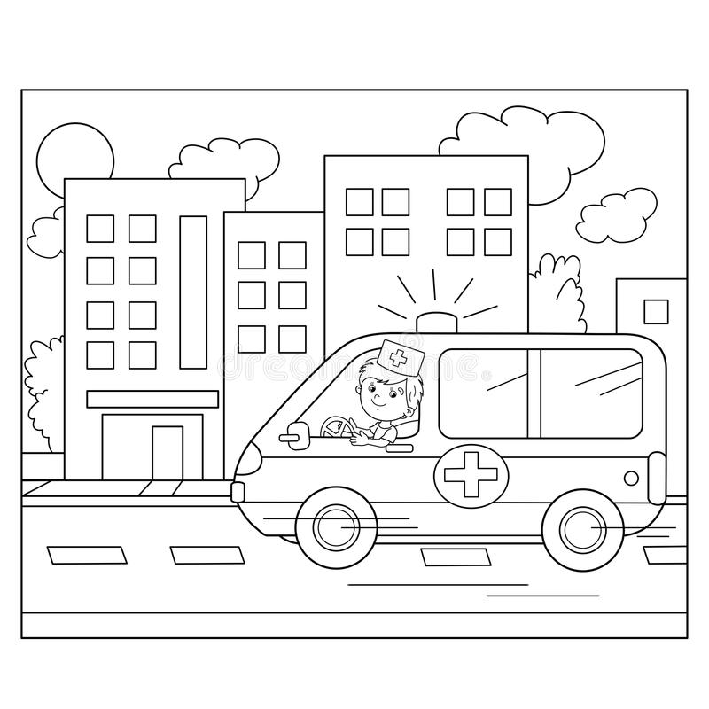Download Coloring Page Outline Of Cartoon Doctor With Ambulance Car Stock Vector
