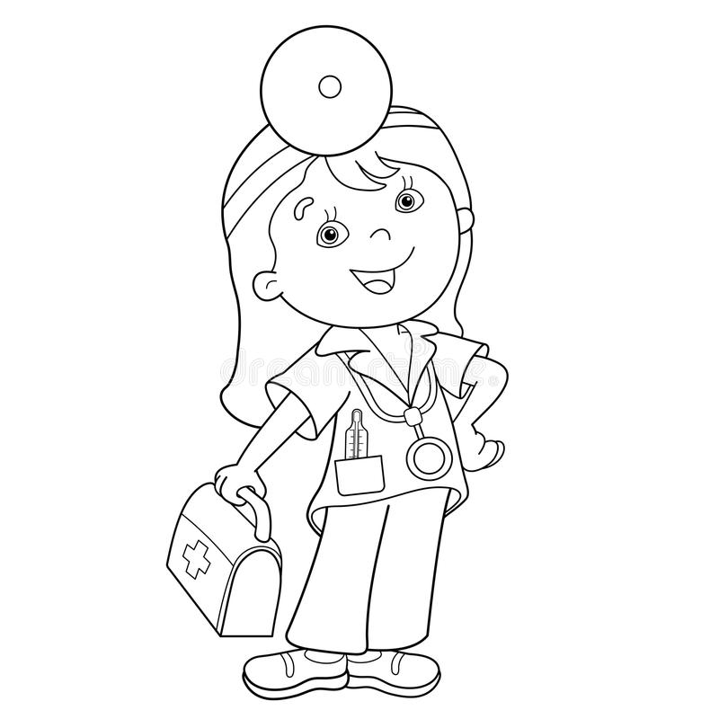 Coloring Page Outline Of cartoon doctor with first aid kit royalty free illustration