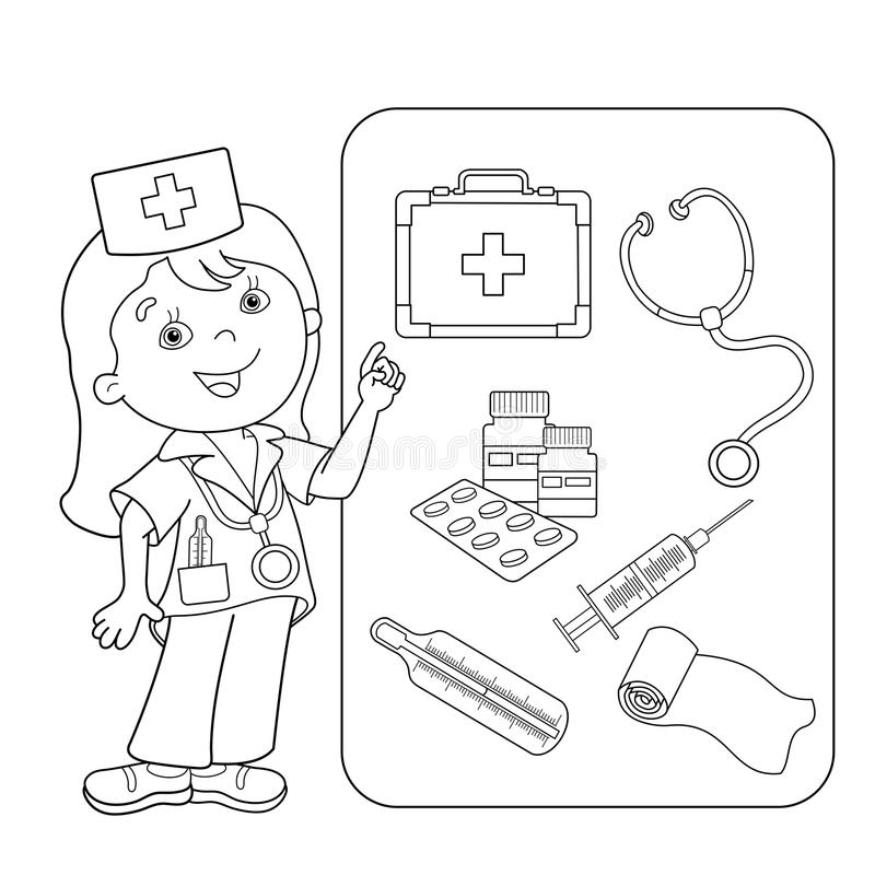 Download Coloring Page Outline Of Cartoon Doctor With First Aid Kit Stock Vector