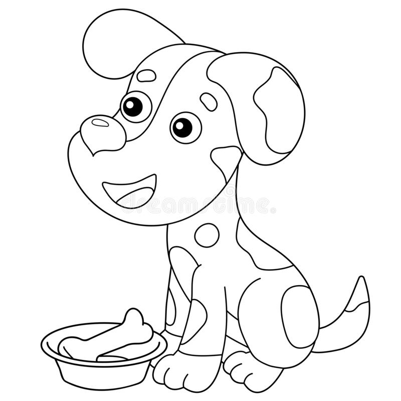 Coloring Page Outline Of Cartoon Dog With Bone. Pets. Coloring Book For  Kids Stock Vector - Illustration Of Cute, Colouring: 166327551