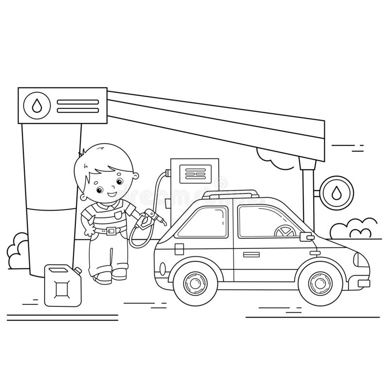 Coloring Page Outline Of cartoon driver with car on petrol station. Images transport or vehicle for children. Coloring book for stock illustration