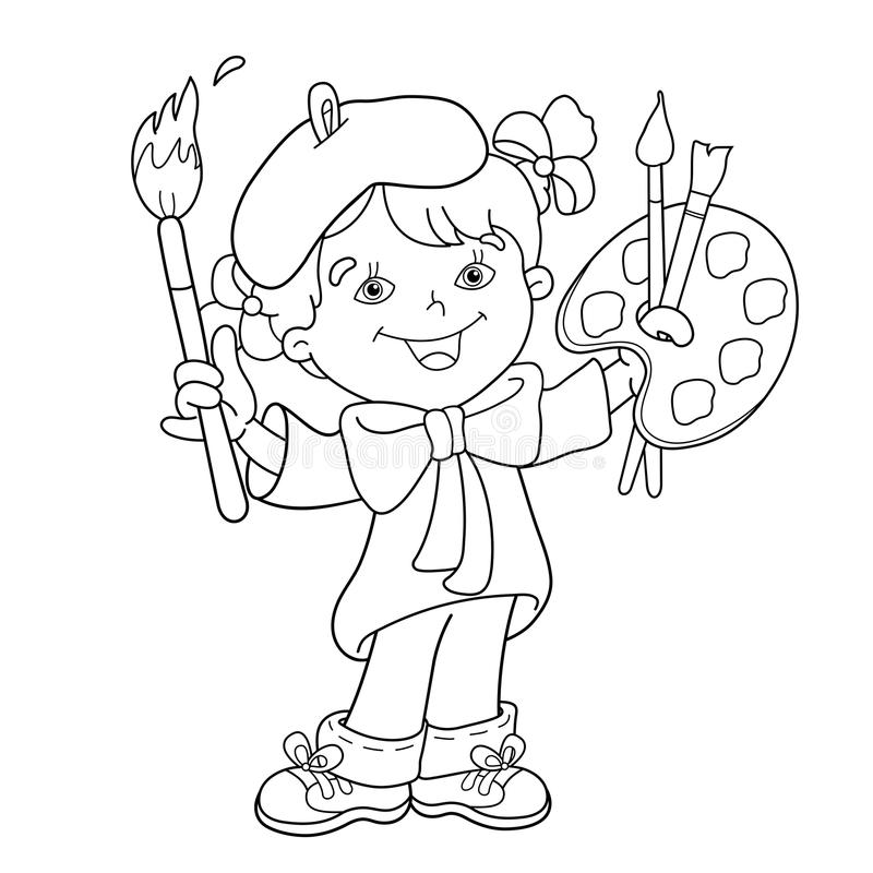 Coloring Page Outline Of Cartoon Girl Artist With Paints. Stock ...