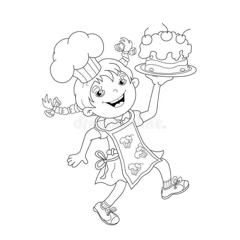 Download Coloring Page Outline Of Cartoon Girl Chef With Cake Stock Vector