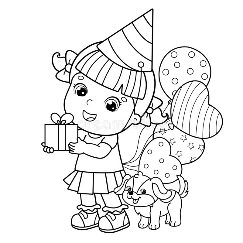 - Coloring Page Outline Of A Cartoon Girl With Gift And Balloons And With  Little Dog. Birthday. Coloring Book For Kids Stock Vector - Illustration Of  Child, Colour: 177474968