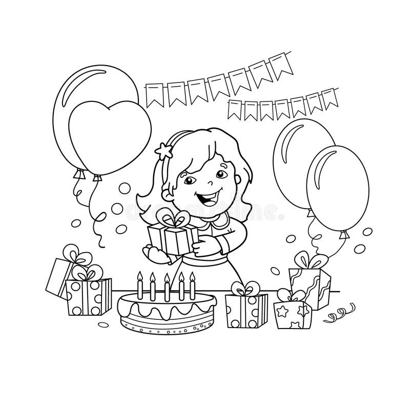 Download Coloring Page Outline Of Cartoon Girl With A Gift At The Holiday.  Coloring Book