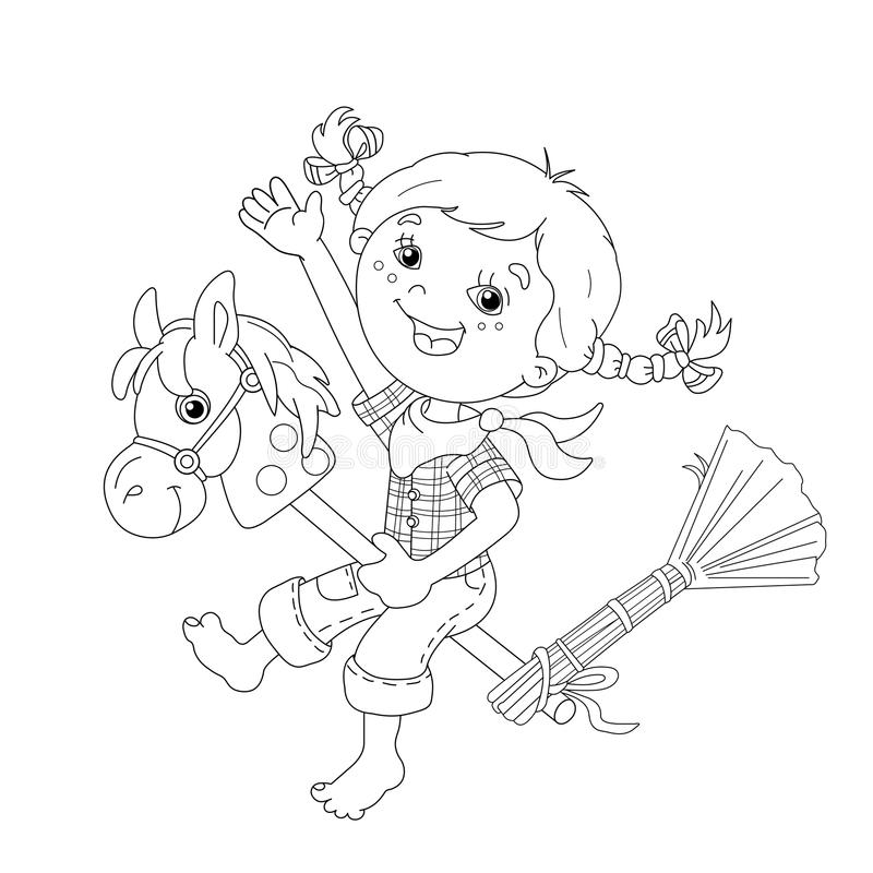 Coloring Page Outline Of cartoon Girl playing cowboy with toy ho. Rse. Coloring book for kids royalty free illustration