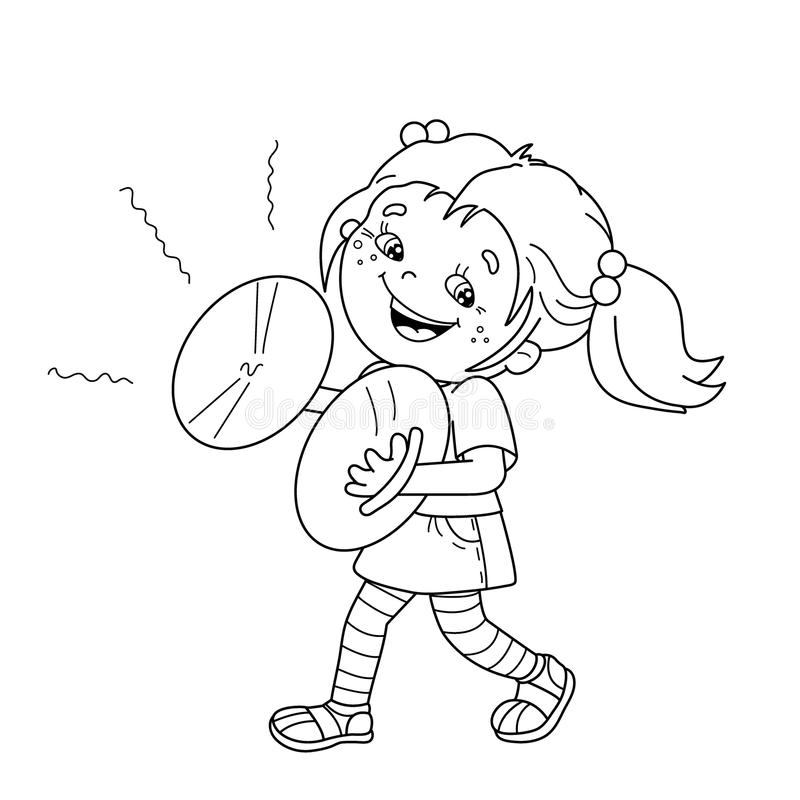 kid playing band instruments coloring pages | Coloring Page Outline Of Cartoon Girl Playing The Cymbals ...