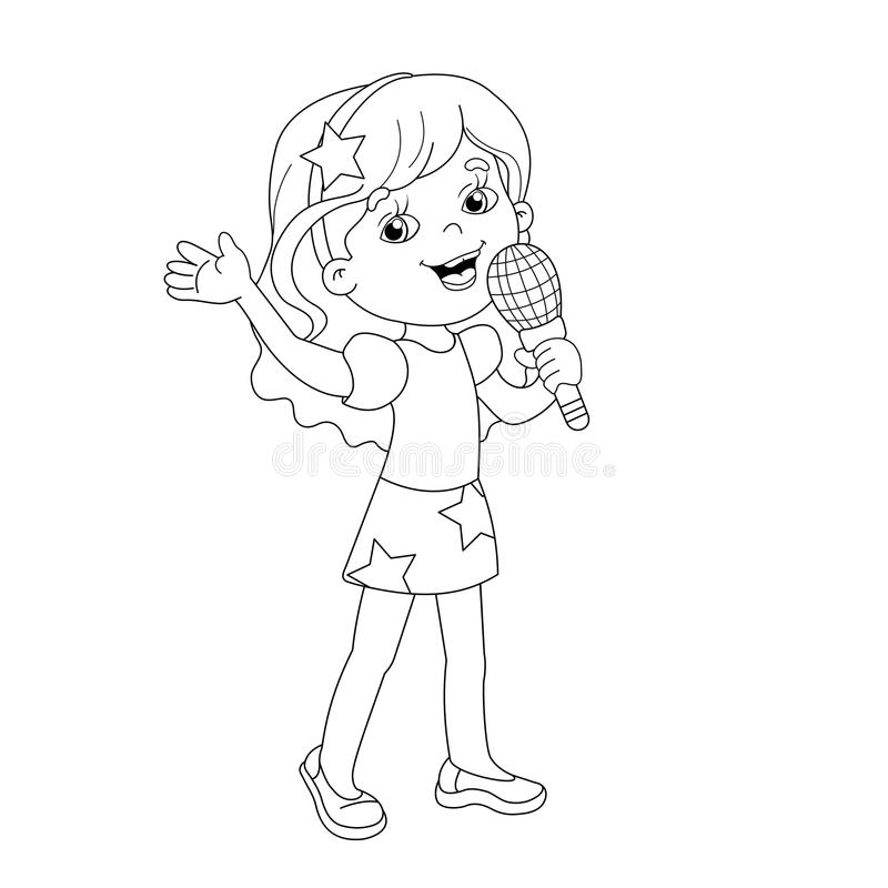 Coloring Page Outline Of Cartoon Girl Singing A Song Stock Vector ...