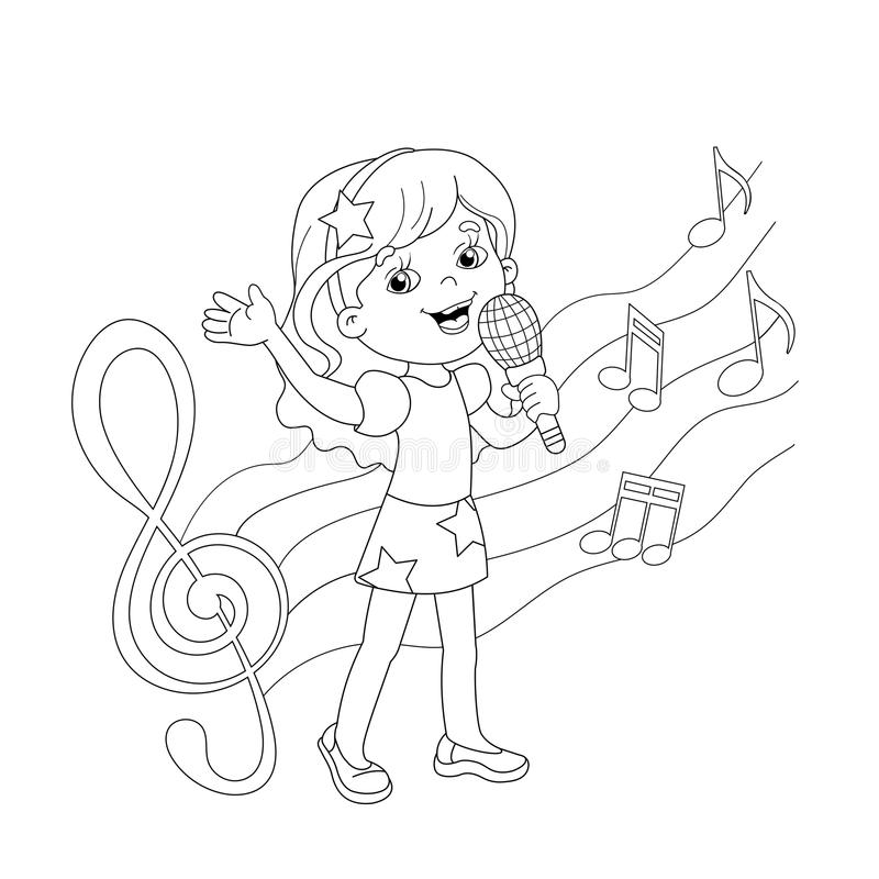 Kleurplaat Microfoon Coloring Page Outline Of Cartoon Girl Singing A Song Stock