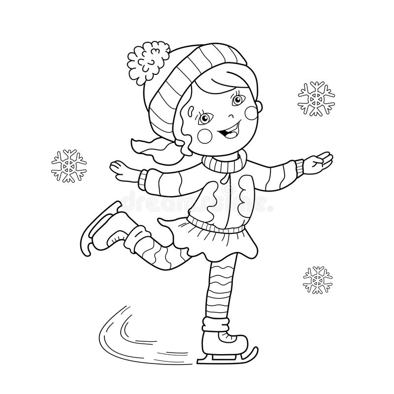 download coloring page outline of cartoon girl skating winter sports editorial stock photo