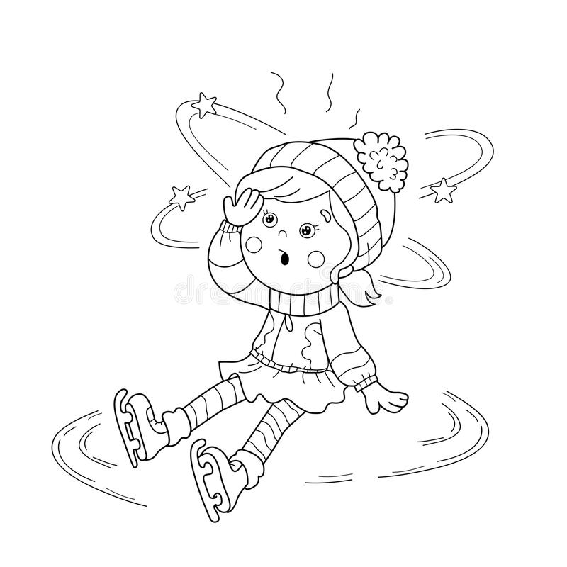 download coloring page outline of cartoon girl skating winter sports editorial stock image