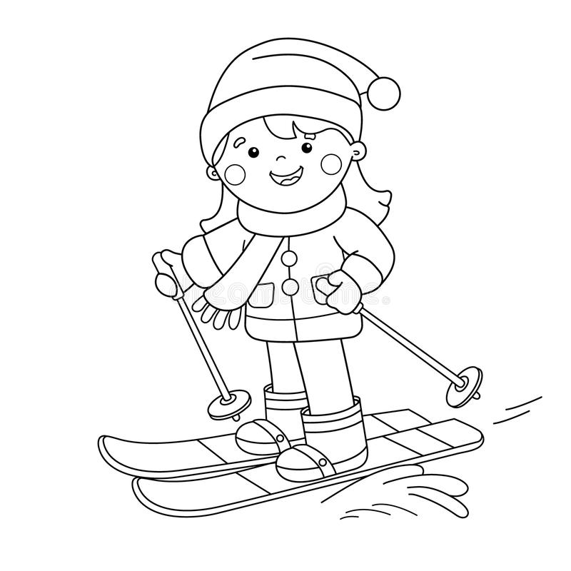 Download coloring page outline of cartoon girl skiing winter sports coloring book for kids