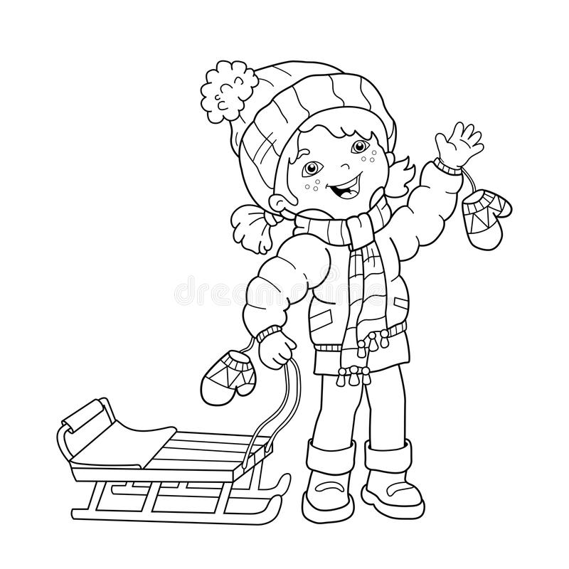 download coloring page outline of cartoon girl with sled winter stock vector illustration
