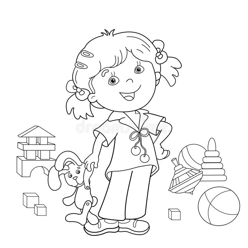 Coloring Page Outline Of Cartoon Girl With Toys Stock Vector ...
