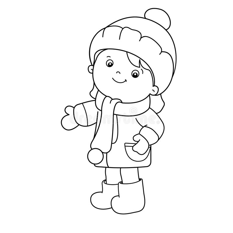 Coloring Page Outline Of Cartoon Girl. Winter. Coloring Book For ...