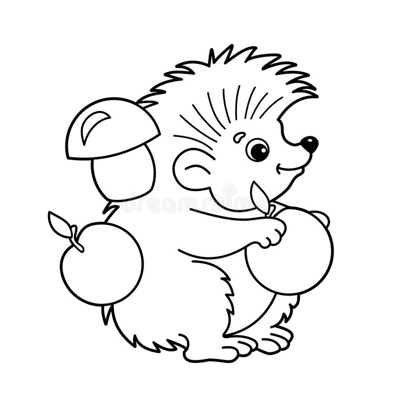 Download Coloring Page Outline Of Cartoon Hedgehog With Apples And Mushrooms Book For Kids