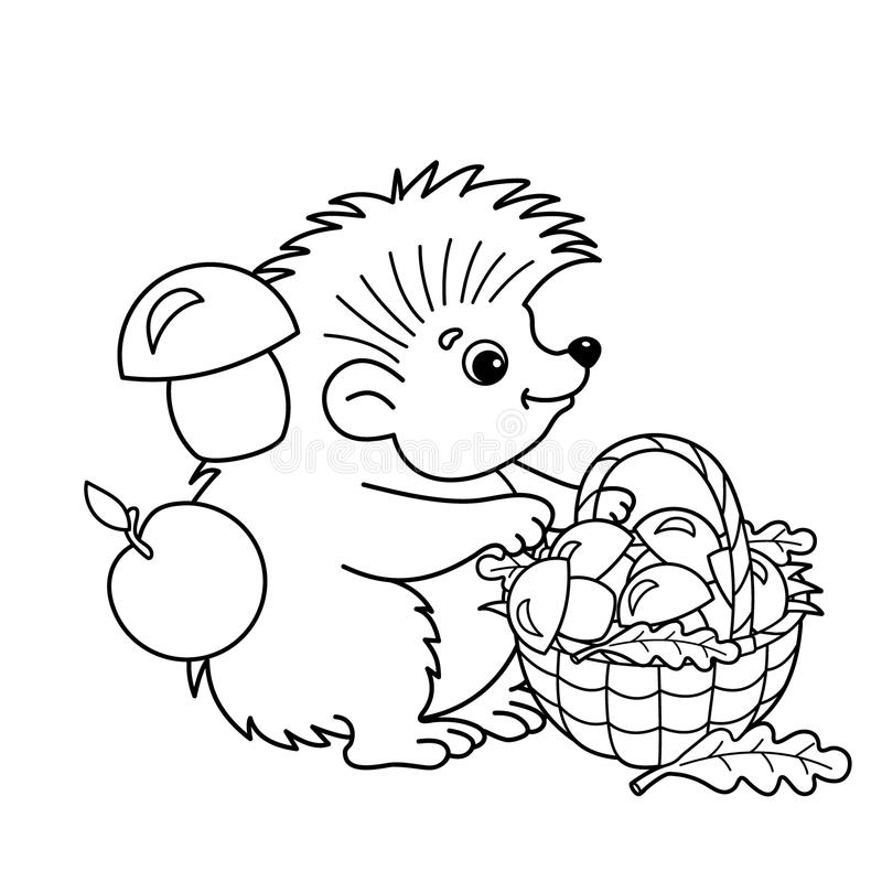 Coloring Page Outline Of Cartoon Hedgehog With Basket Of