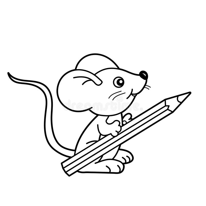 Coloring Page Outline Of Cartoon Little Mouse With Pencil ...