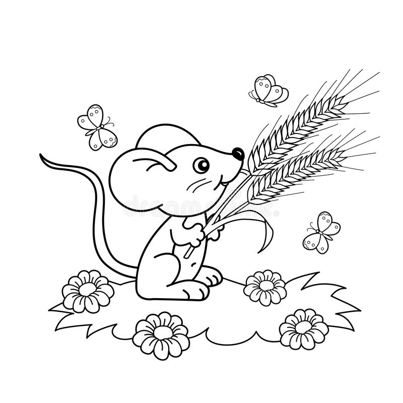 coloring page outline of cartoon little mouse with