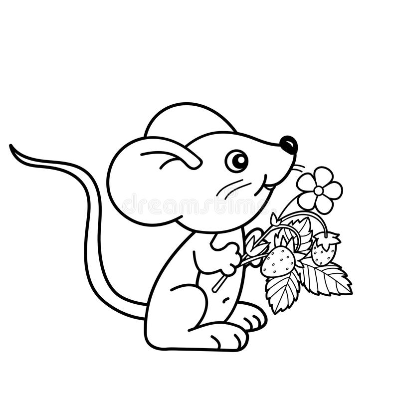 Coloring Page Outline Of Cartoon Little Mouse With Strawberries