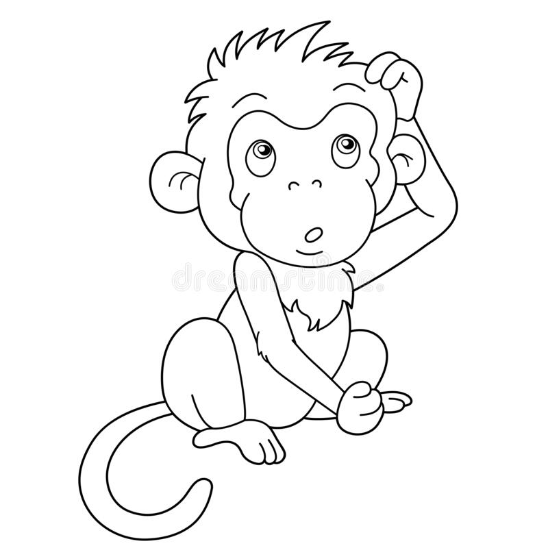 - Coloring Page Outline Of Cartoon Monkey. Animals. Coloring Book For Kids  Stock Vector - Illustration Of Outline, Animal: 175314579